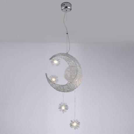 クリエイティブペンダントライト LED 天井用のランプハンギング 子供部屋 かわいい ムーンとスター ホームデコレーション