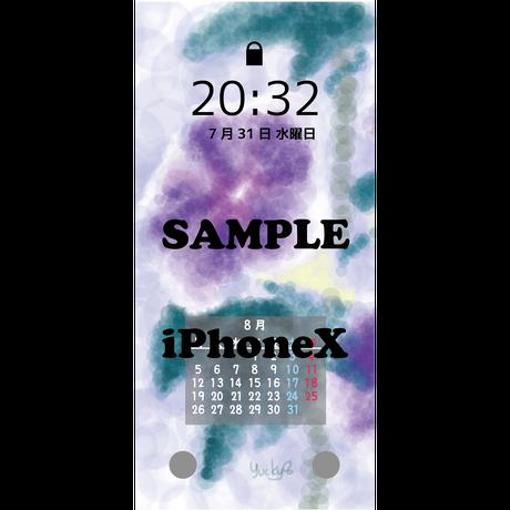 (iPhone Xシリーズ)デジタルカレンダー2019年8月