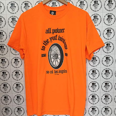 YUF  vintage  wheel graphic  シルクラバーTシャツ