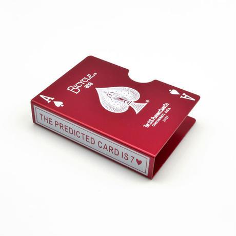 バイスクル・カード・プロテクター(レッド)【G0583】Bicycle Card Protector Aluminum - Prediction (Red)