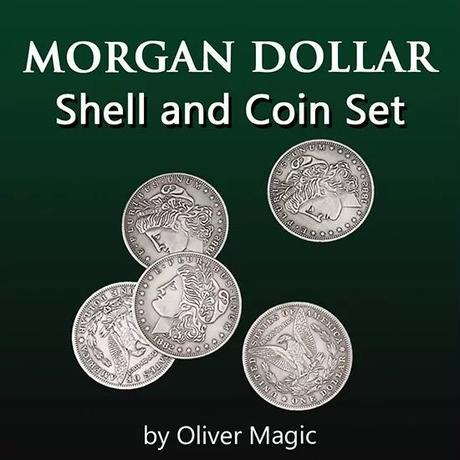 高品質ギミック「モルガンダラーシェルセット」【C0003】Morgan Dollar Shell Set (5 Coins + 1 Head Shell + 1 Tail Shell)