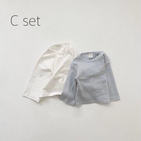 【ご予約】ボーダー+無地二枚組ロンティーセット