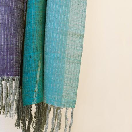 結城紬のショール 一年中 冴(さえ) 55246-4CHBLE 絹100%  日本製