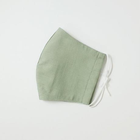 結城紬のマスク イロムジ   ライトグリーン 肌心地良い  表素材:絹100%