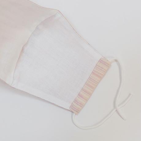 結城紬のマスク シマシマ   ピンク2 肌心地良い  表素材:絹100%