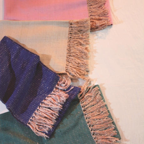 結城紬のショール  育てる 色無地 七草 55600-4PLGRN 絹100%  日本製