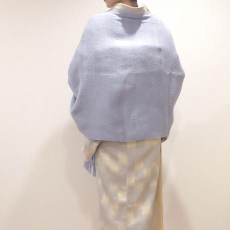 結城紬のショール 真綿まとう色無地 そぼつ 52447-6PLSKY 絹100%  日本製