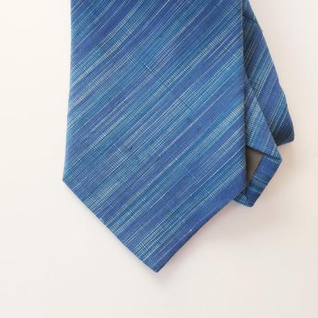 結城紬のネクタイ 縞 ブルー