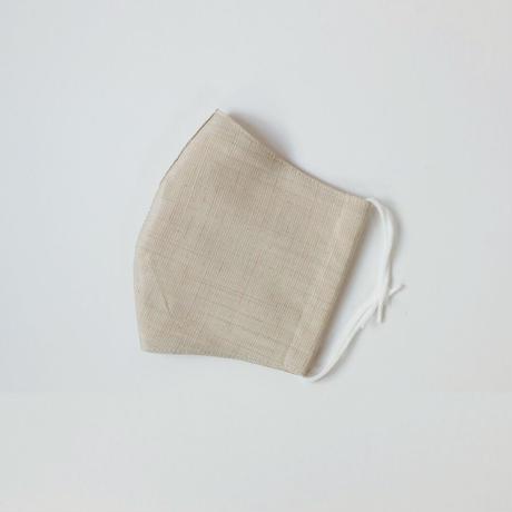 結城紬のマスク シマシマ   ベージュ 肌心地良い  表素材:絹100%