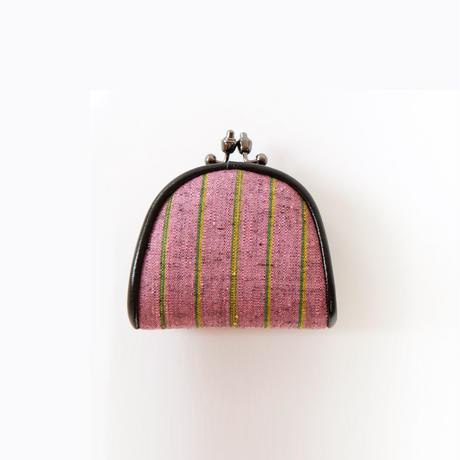 本場結城紬の豆がま口 縞 ピンクミドリ(小)