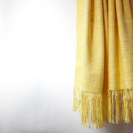 結城紬のショール 真綿まとう色無地 団団(だんだん) 52445-6PLYLW  絹100%  日本製