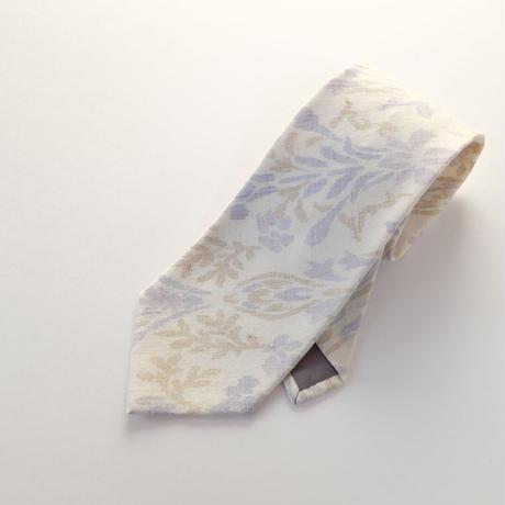 結城紬のネクタイ 絣 ホワイト