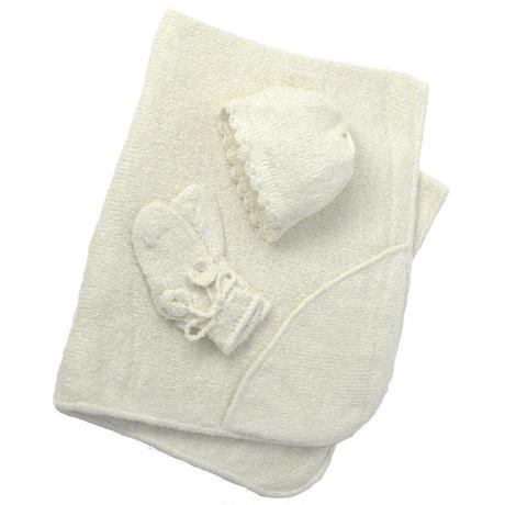 結城紬のおくるみセット おくるみ/帽子/靴下 心地いい ニット 絹100%  日本製