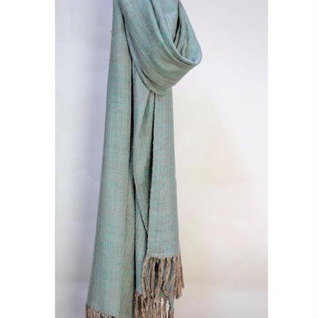 結城紬のショール  育てる 色無地 水縹-みずはなだ- 55603-4PLMNT 絹100%  日本製