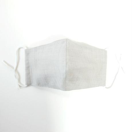 結城紬のマスク シマシマ ライトグレー 肌心地良い  表素材:絹100%