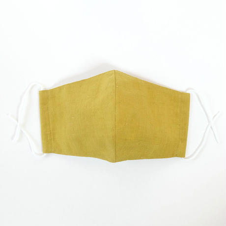 本場結城紬のマスク  イロムジ カラシ Lサイズ 肌心地良い  表素材:絹100%