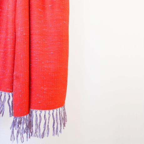 結城紬のショール 育てる色無地 あしらい 55631-4PLRED 絹100%  日本製