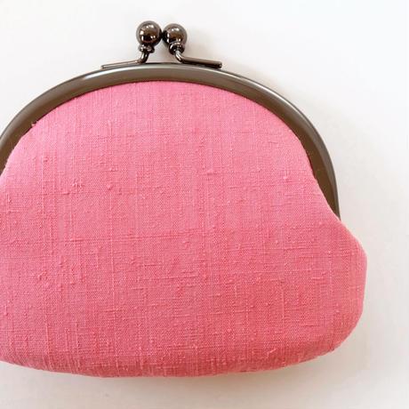 本場結城紬がま口大 ピンク