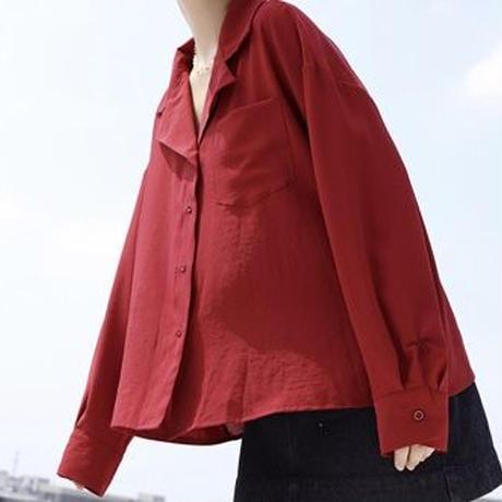 開襟ギャザーシャツ(2色)