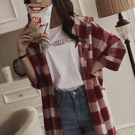 チェック柄ロングシャツ(2色)