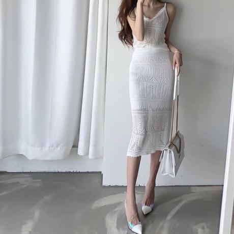 キャミ&ミディスカート(2色)