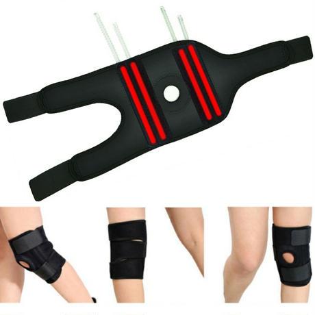 膝サポーター 左右セット 膝をサポートする ステンレスバネ4本入り 登山 サイクリング ジョギングのお供に ブラック 〈2個組〉