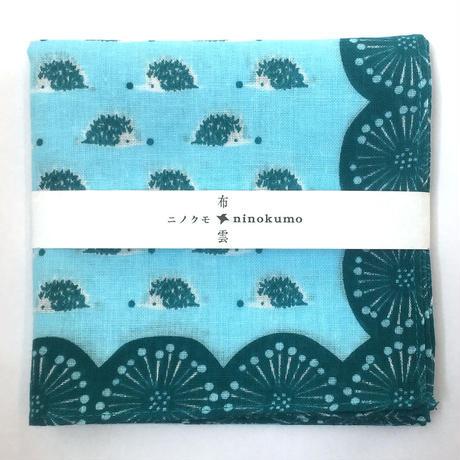 ninokumo はりねずみとまち針ハンカチ ブルー