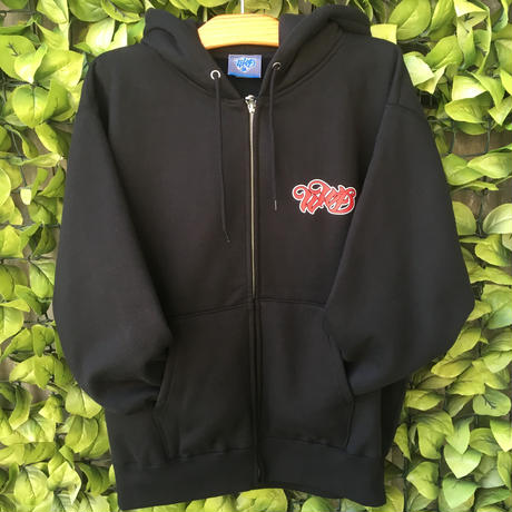 WILDWESTDAYS zip hood / WWD LA BACKPRINT (Color: Black / Red)