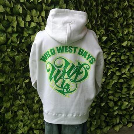 WILDWESTDAYS  zip hood / WWD LA BACKPRINT (Color: White / Green)