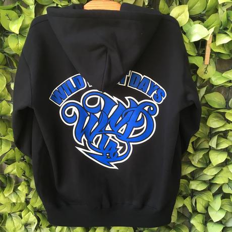 WILDWESTDAYS zip hood / WWD LA BACKPRINT (Color: Black / Blue)