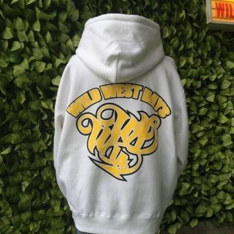 WILDWESTDAYS  zip hood / WWD LA BACKPRINT (Color: white / yellow)