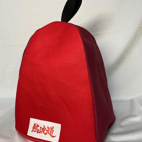 【洗えるサウナハット帆布】熱波道オリジナルタグ(エンジ&赤