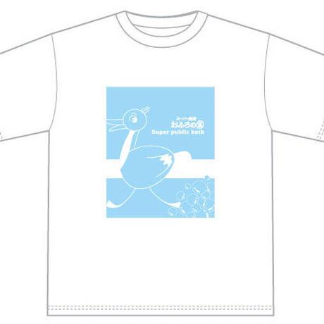 【Tシャツ】「つるんツル」&初期ロゴ 白地Tシャツ水色1色