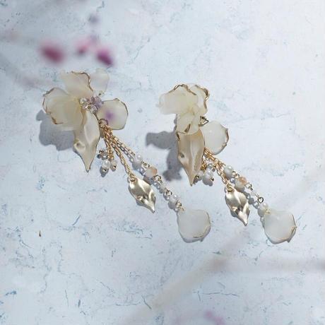 【限定・セット価格】 トロリウス 髪飾り・耳飾り・ブレスレット SET*ムーンライトホワイト