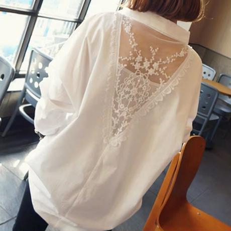 シースルー 刺繍 長袖 シフォンシャツ ブラウス ゆったり オーバーサイズ