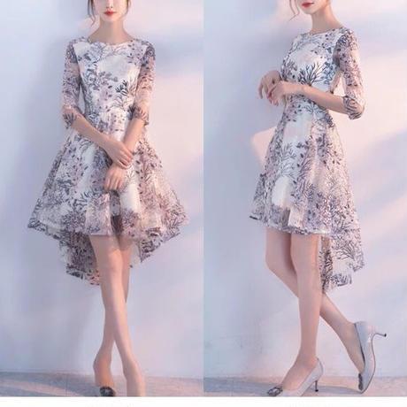 刺繍 ドレス オーガンジー 結婚式 ワンピース 2次会