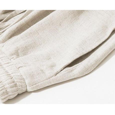 綿麻シンプルロング着回しワイドパンツ