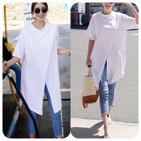 綿素材 カジュアル Tシャツ 不規則 オシャレ定番