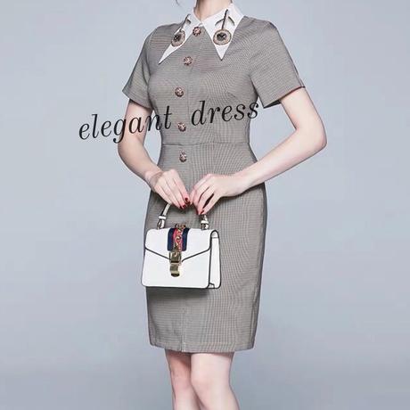 膝丈ワンピース エレガント ドレス 襟付き タイト スタイリッシュ 入学式