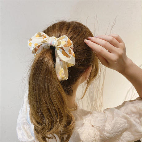 リボンパール花柄シフォンヘアクリップ