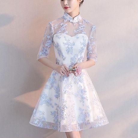ラブリー レース刺繍 フレア Aラインワンピース ドレス