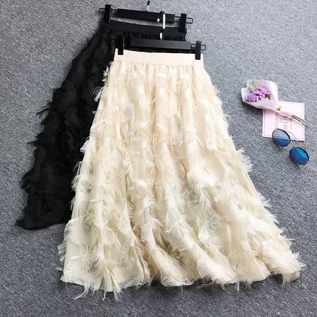 ウエストゴム 羽根模様 ボリューム ロング丈 タッセルスカート 四色