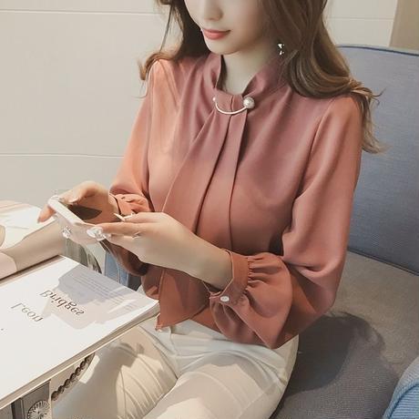 新作♡きれいめシフォンシャツ パール ボウタイ 全4色 ブラウス
