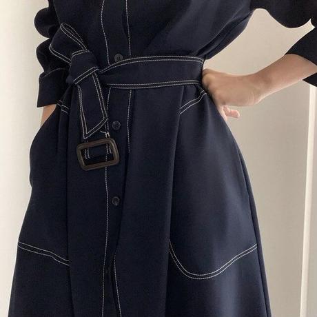 Aラインベルト付きジャケットワンピ