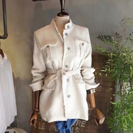 ホワイト 厚手 高品質 長袖 ツイードジャケット エレガント 入学式