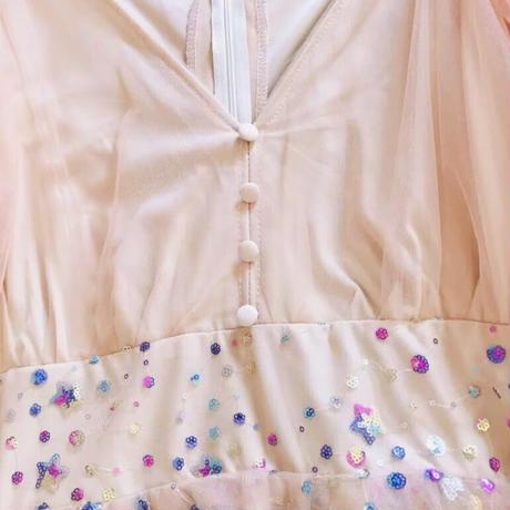 ふんわり煌くボリュームスリーブワンピースドレス