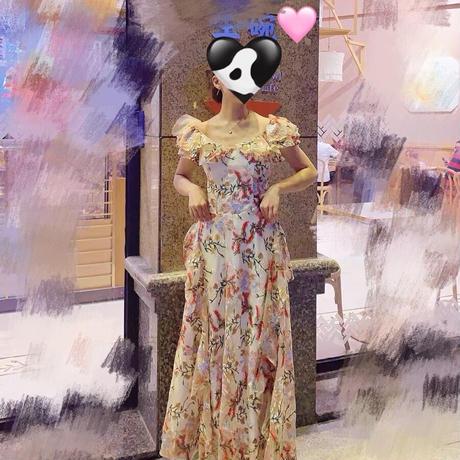 刺繍フェミニンなロング丈ドレス