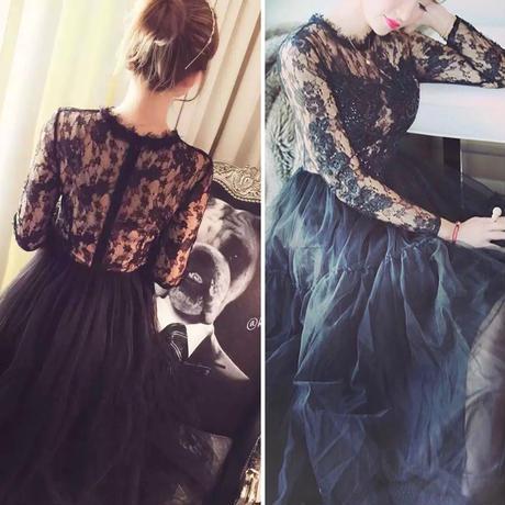 ロング丈刺繍ビジューチュールワンピース 長袖 シースルー ドレス