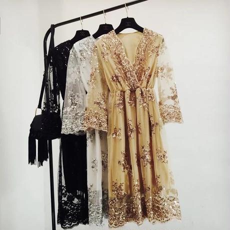 新作♡ドレス チュールレース 刺繍 ワンピース パーティー 全3色