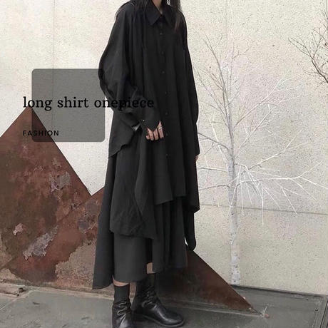 オーバーサイズ ゆったりシャツトップス ブラック アシンメトリー
